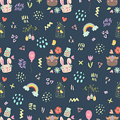 adorable and cute easter seamless pattern with a bird cage, bunny, deer, chicken, flower, balloon, rainbow, eggs, heart. sweet repeating tile for nursery decor, textile, fabric, wrapping paper, wallpaper for boys and girls, gift favor bag and box. unique easter spring pattern on dark blue background.