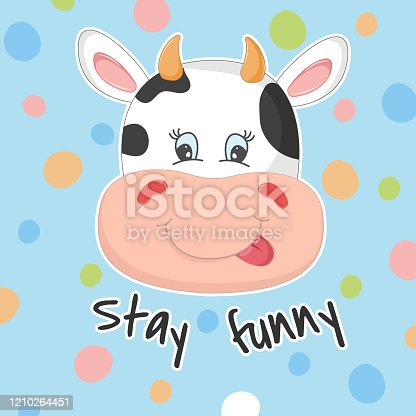 Adorable face cute cow isolated on blue background with bubbles.