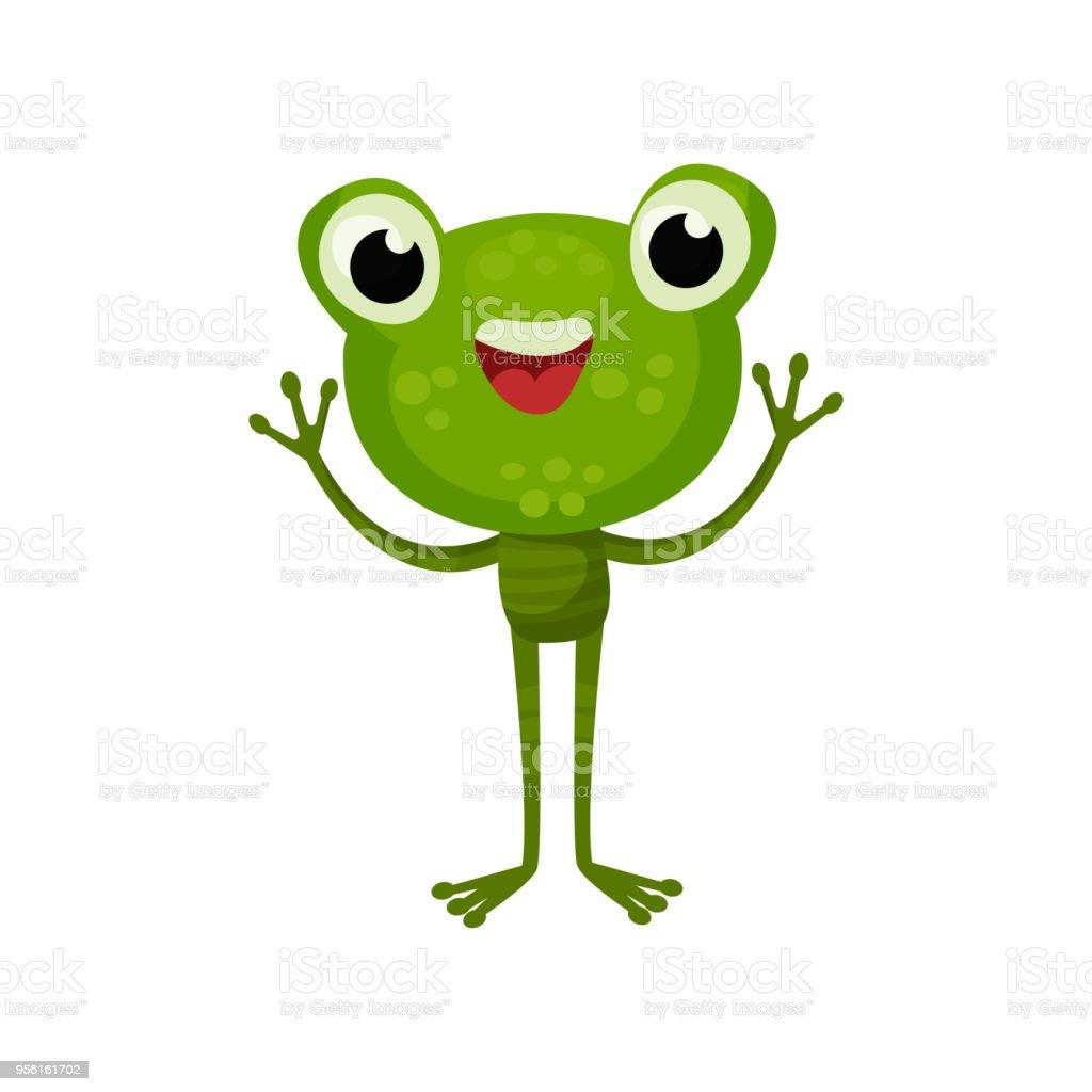 ilustração de adorável sapo com expressão de rosto alegre personagem