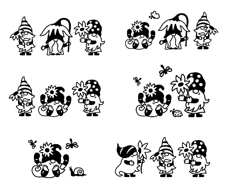 Adorable gnomes with sunflowers or daisy flowers designs are on white background. Vector illustration.