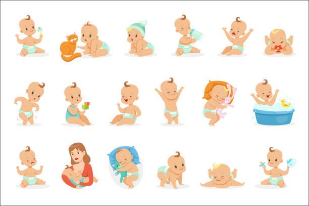 愛らしい幸せな赤ちゃんとかわいい漫画の幼児と幼児のイラストの彼の毎日のルーチンシリーズ - 赤ちゃん点のイラスト素材/クリップアート素材/マンガ素材/アイコン素材
