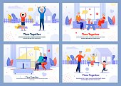 Adorable Happy Grannies and Children Flat Banner Set. Family and Relatives. Rest, Relaxation, Sport Activities. Grandparents and Grandchildren Characters. Time Together. Vector Cartoon Illustration