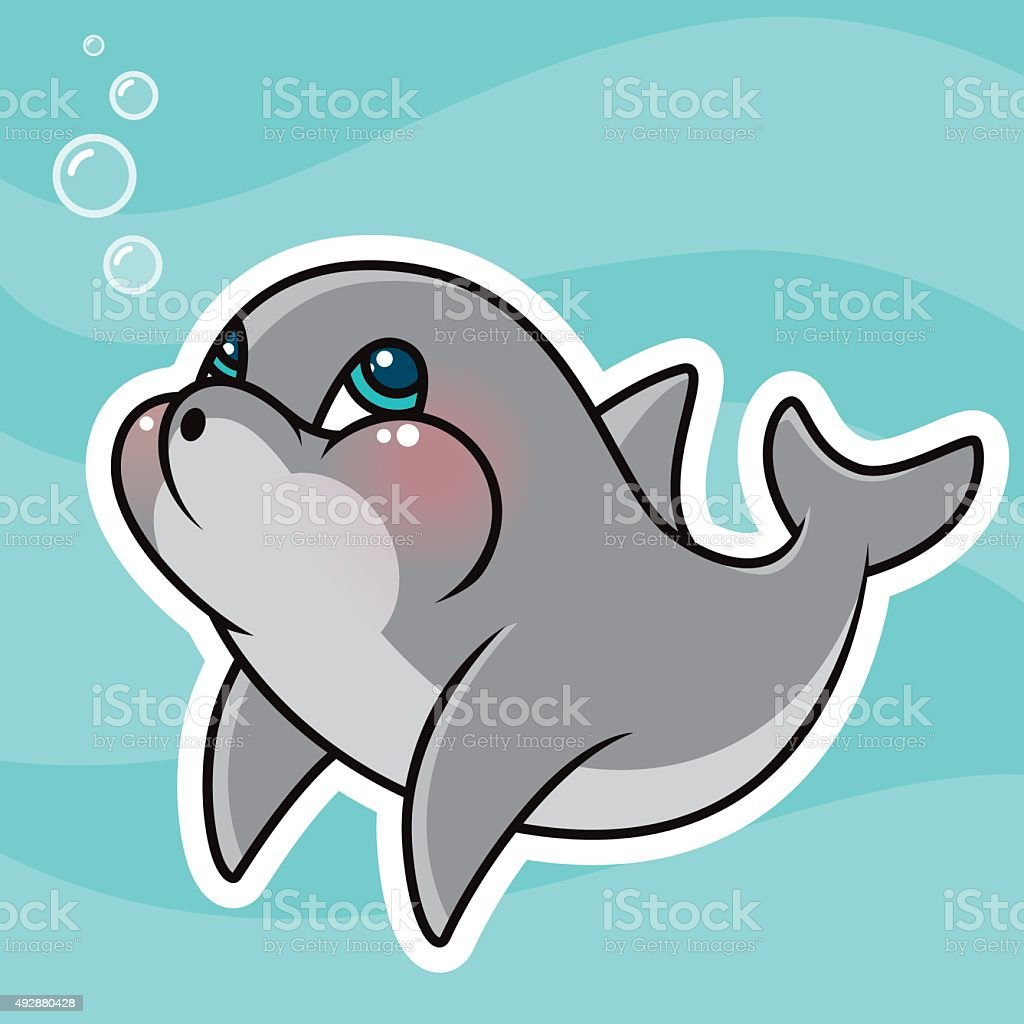adorable kawaii dolphin character stock vector art   more newspaper clipart image newspaper clipart black and white