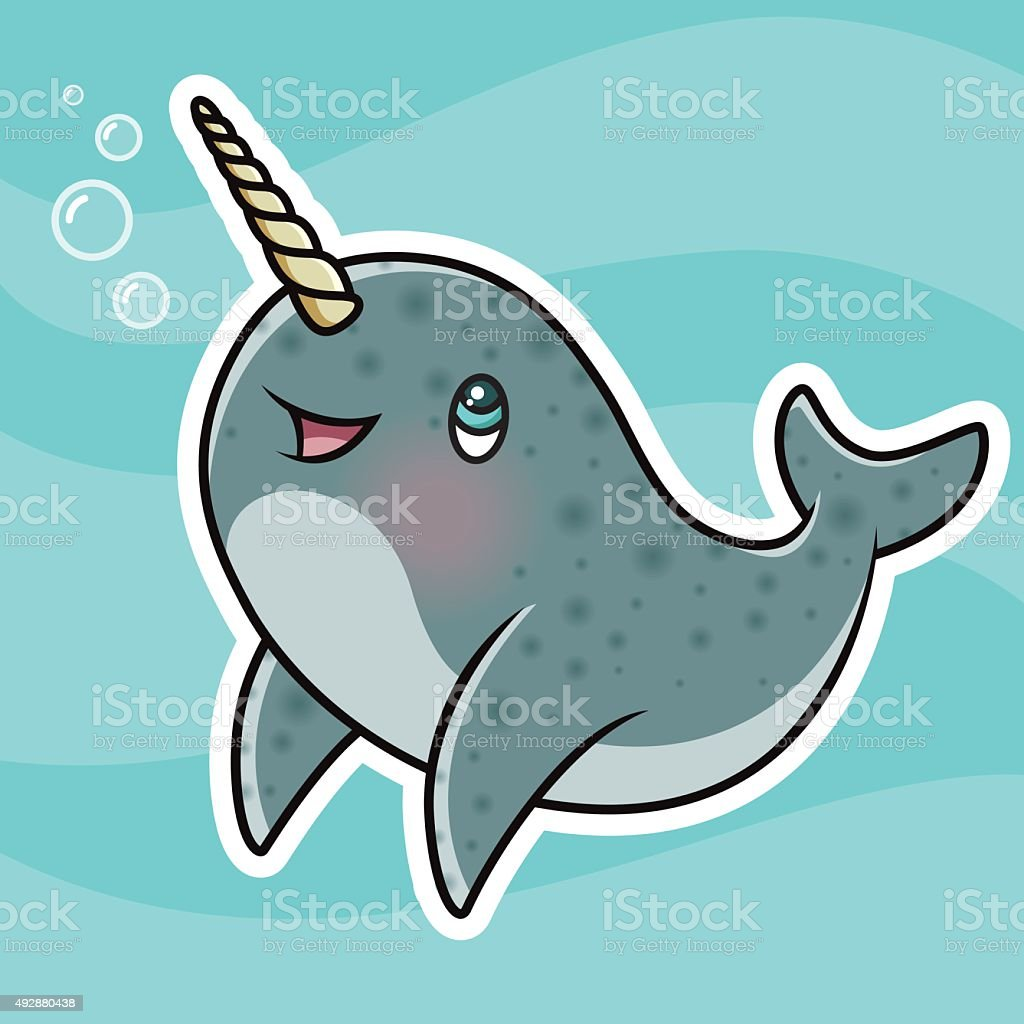 adorable kawaii narwhal character blowing bubbles stock vector art