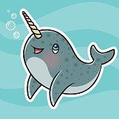 Adorable Kawaii Narwhal Character Blowing Bubbles