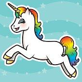 istock Adorable Kawaii Rainbow Unicorn Character 492880458