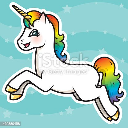 An adorable little Kawaii styled unicorn character. Download includes AI10 EPS and a high resolution RGB JPEG.