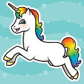 Adorable Kawaii Rainbow Unicorn Character