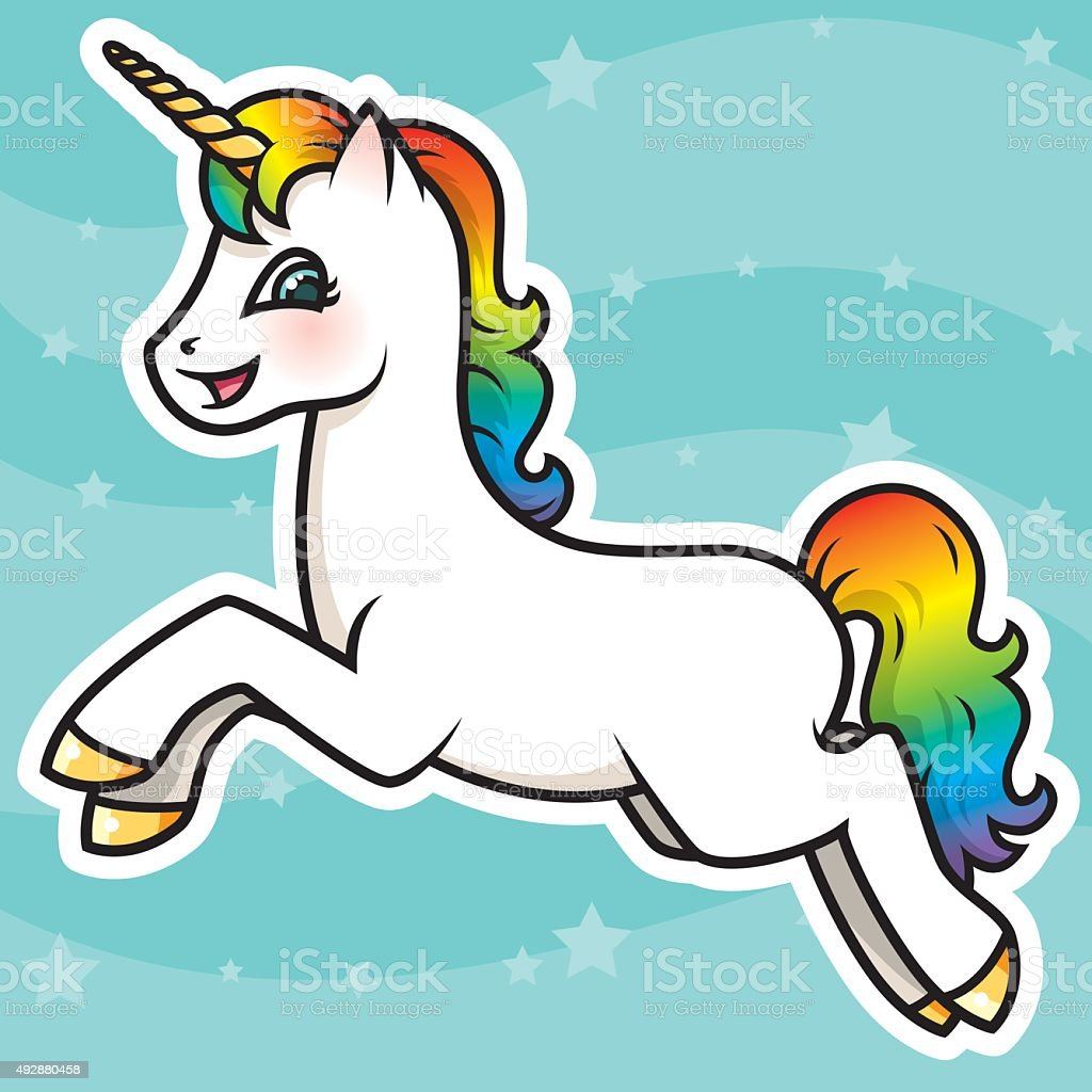 Adorable Kawaii Rainbow Unicorn Character vector art illustration