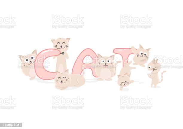 Adorable kitten cute cat cartoon vector funny characters flat design vector id1145671251?b=1&k=6&m=1145671251&s=612x612&h=2an4xjtgse7h1obeabtea6u5tdigym muyjg0fbzyko=