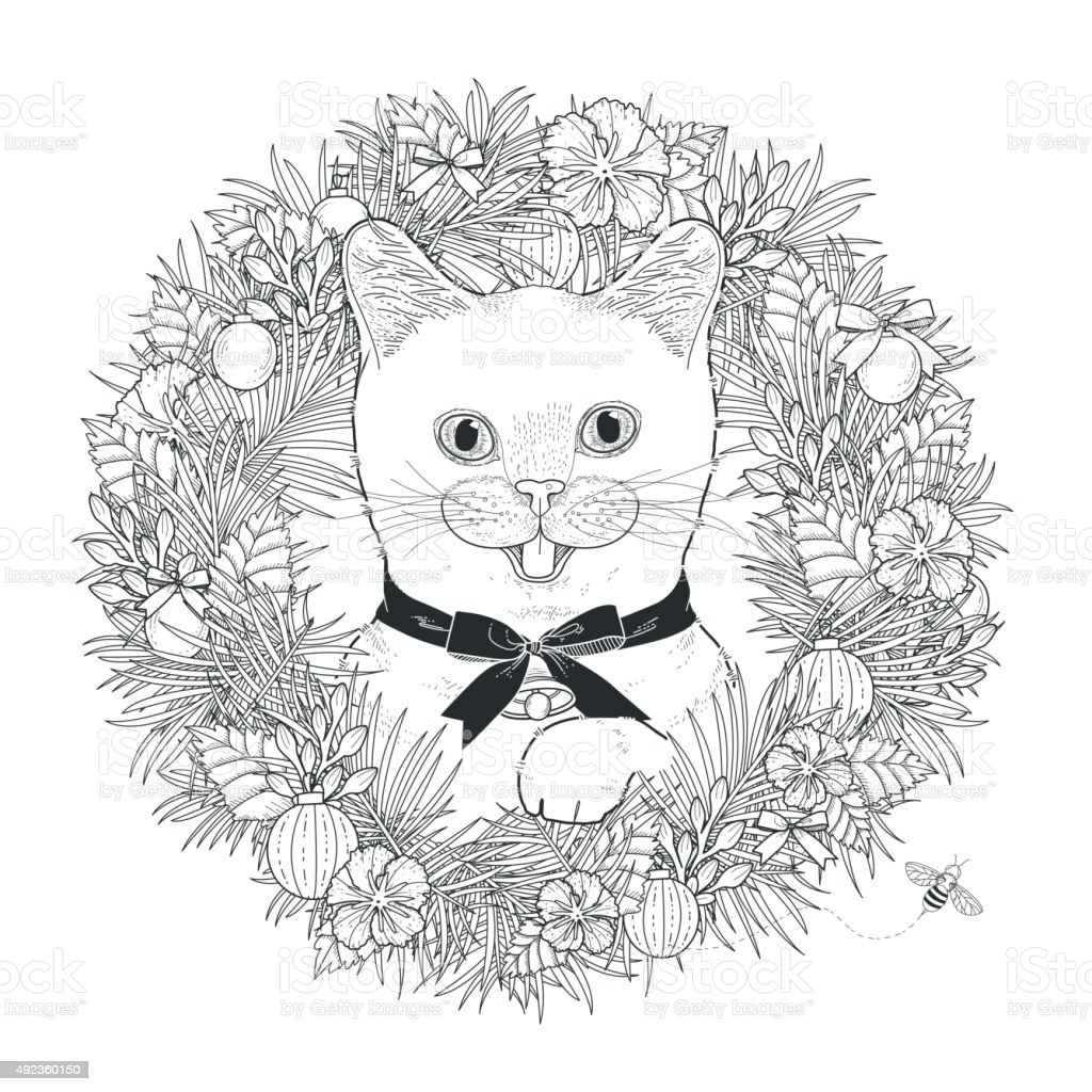 Adorable Kitty Coloring Page Royalty Free Stock Vector Art Amp