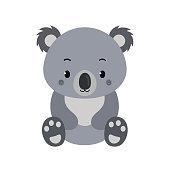 Adorable koala in flat style isolated on white background.