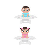 Weighting adorable little baby. Baby first year development. Vector illustration.