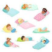 Adorable little boys and girls sleeping sweetly in their beds, colorful characters vector Illustrations isolated on a white background
