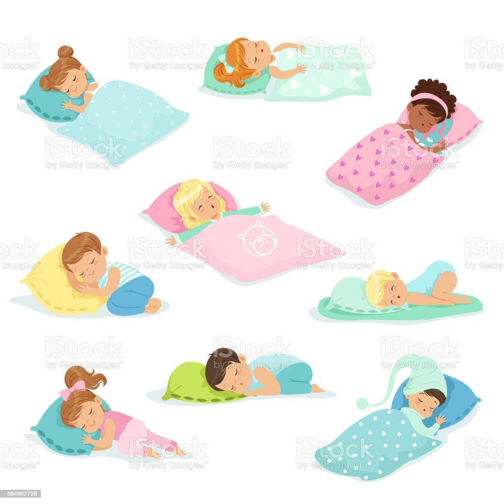 Adorable little boys and girls sleeping sweetly in their beds, colorful characters vector Illustrations vector art illustration