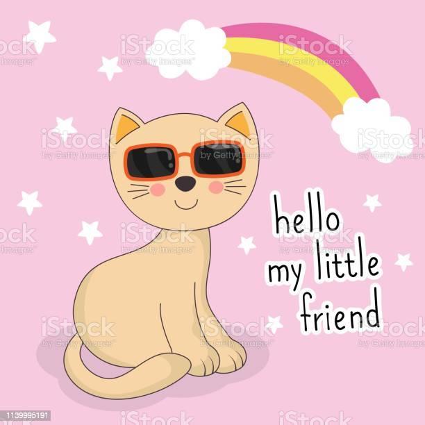 Adorable little cat with sunglasses on pink background hello my vector id1139995191?b=1&k=6&m=1139995191&s=612x612&h= ldmjbqzmjlvmhlnqj9ltorzzm9f lijtgnaeowym0i=