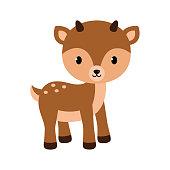 Adorable little deer. Vector illustration in flat style.