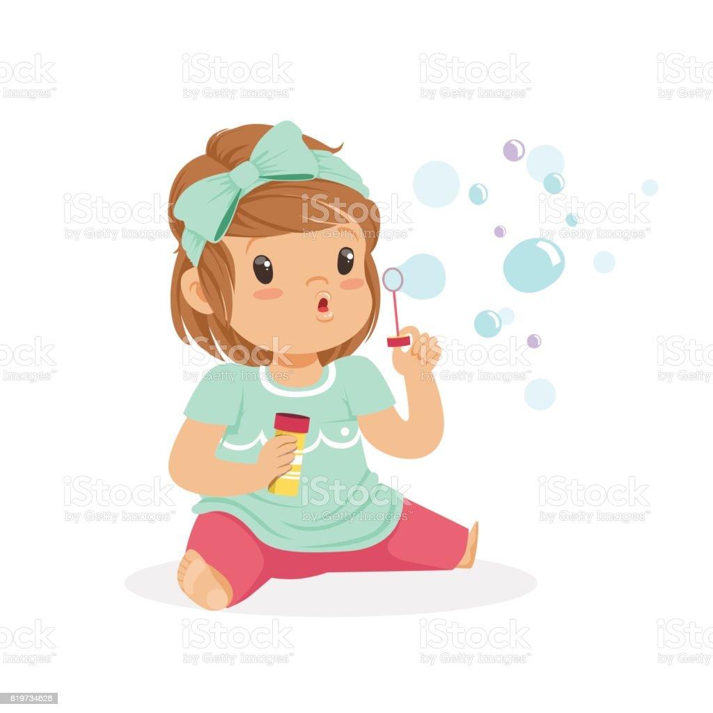 シャボン玉を吹くを座っている愛らしい少女ベクトル イラスト おもちゃ