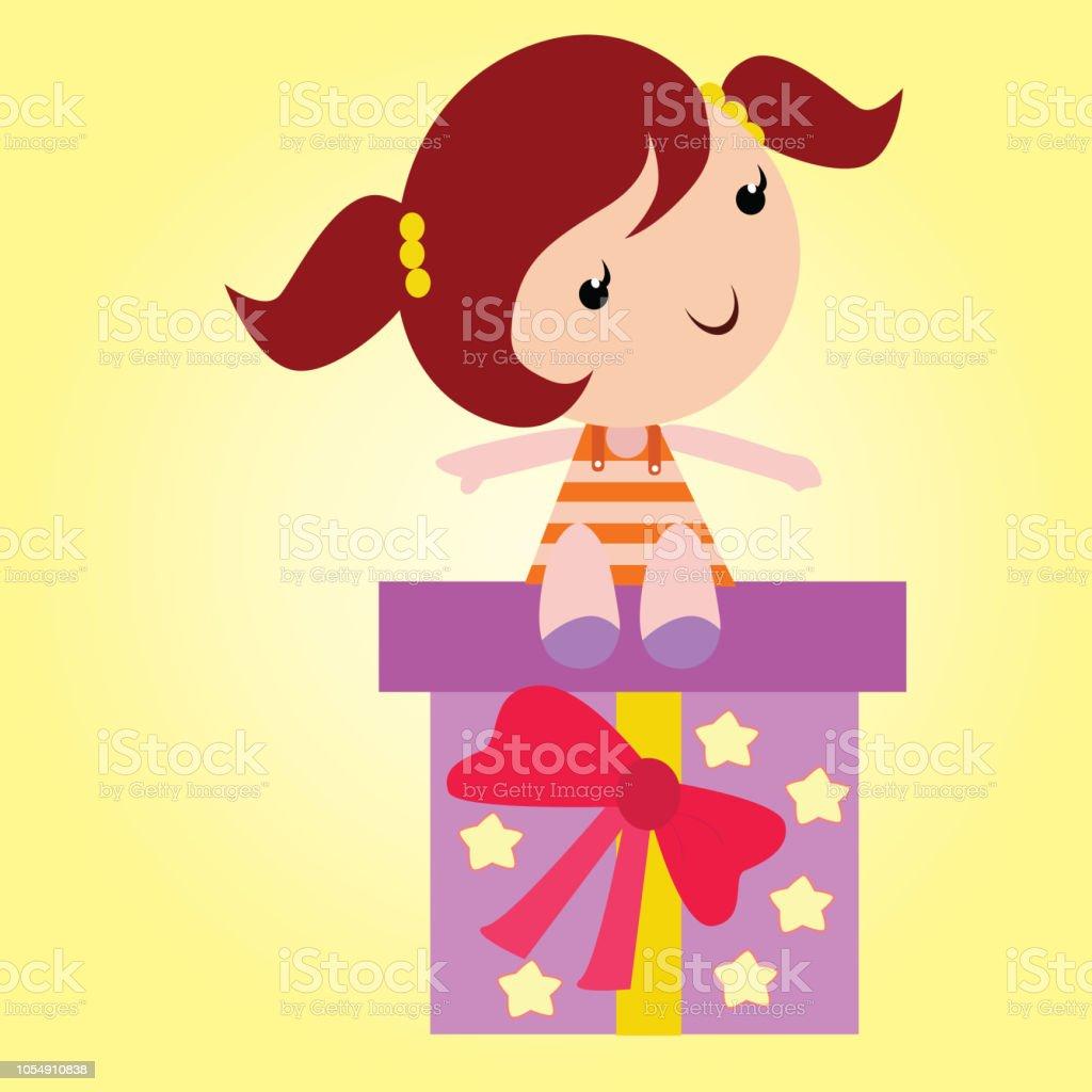 Adorable Little Girls Sitting On Big Birthday Gift Cartoon Character