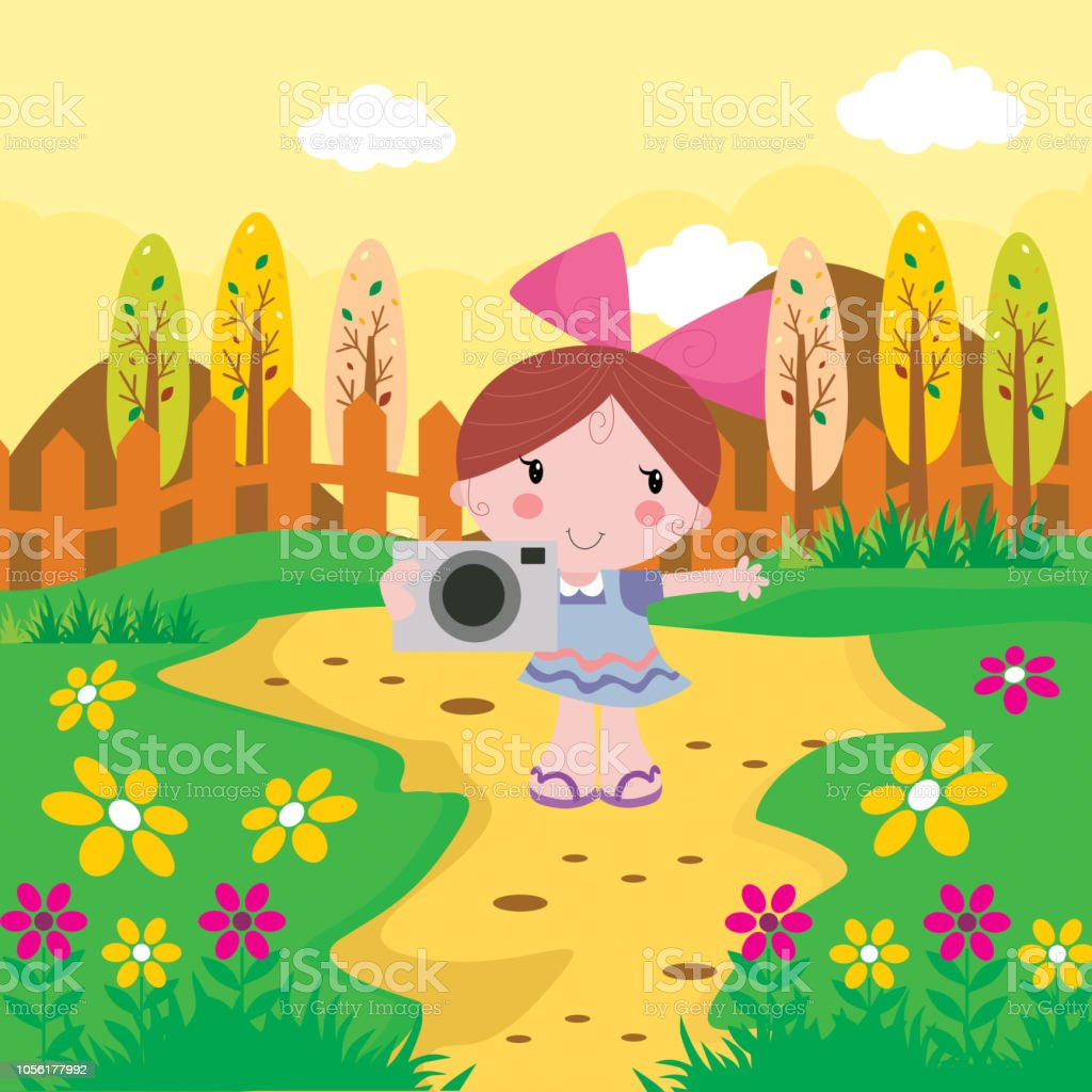 Adorable Little Girls With Camera In The Flower Garden In The Afternoon Cartoon Character Stock Illustration Download Image Now Istock