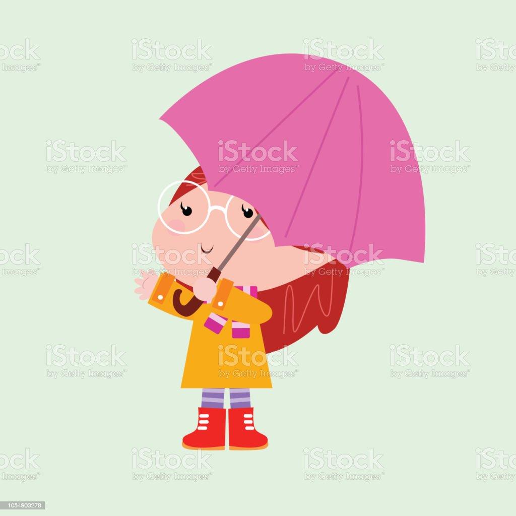 Adorables Petites Filles Avec Parapluie Personnage De Dessin