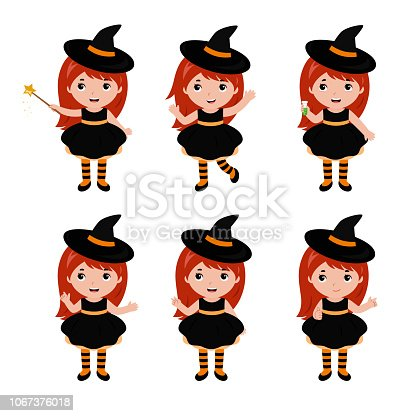 Adorable little witch characters in different poses. Halloween. Vector illustration isolated on white background.