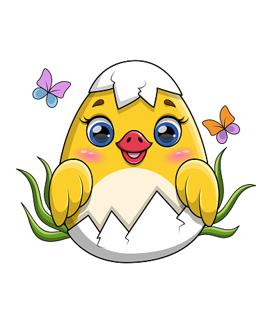 Adorable little yellow duckling hatching from the egg
