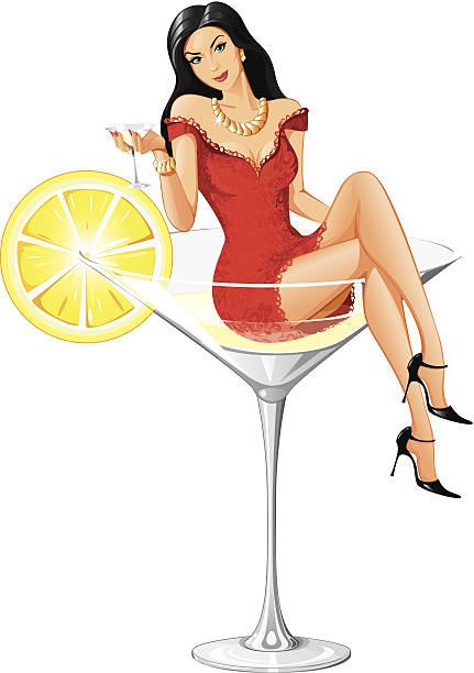 hübsche martini frau-neue version - glasohrringe stock-grafiken, -clipart, -cartoons und -symbole