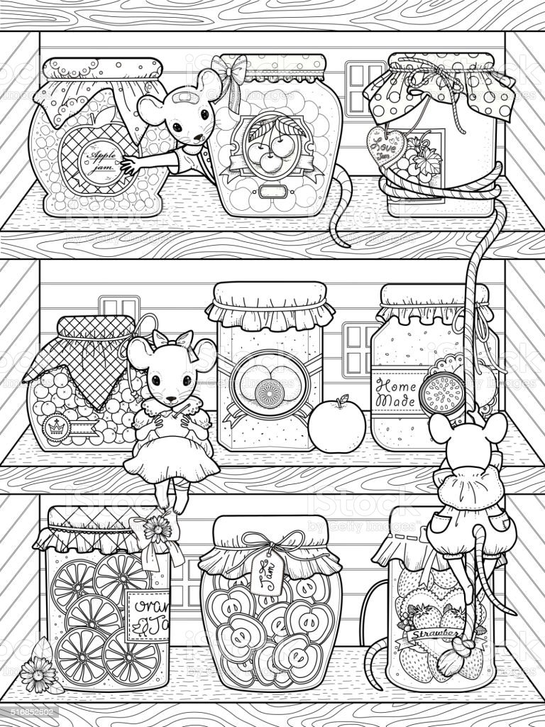 Abstract Art And Craft Black White Bookshelf Adorable Mice Coloring Page