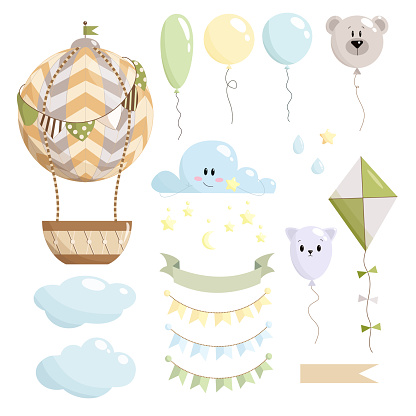 Adorable nursery set of hot air balloon, clouds, stars, balloons, drops, kite, paper flags, ribbon without text with white background. Kids vector illustration. Perfect for baby shower, birthday card.