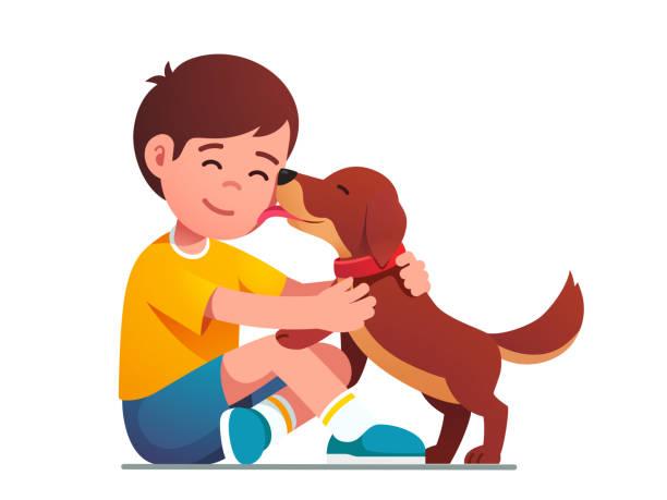 illustrazioni stock, clip art, cartoni animati e icone di tendenza di adorabile cucciolo di cane che lecca il viso sorridente dei bambini - bambino cane