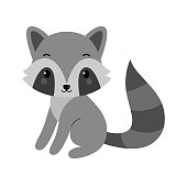 Adorable raccoon in flat style. Vector illustration isolated on white background.