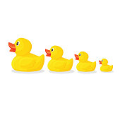 Adorable rubber ducks in row from big to small. Bright yellow birds with red beaks to have in bathroom isolated cartoon flat vector illustrations set.