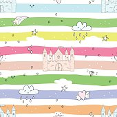 Adorable seamless pattern with castle in cartoon.