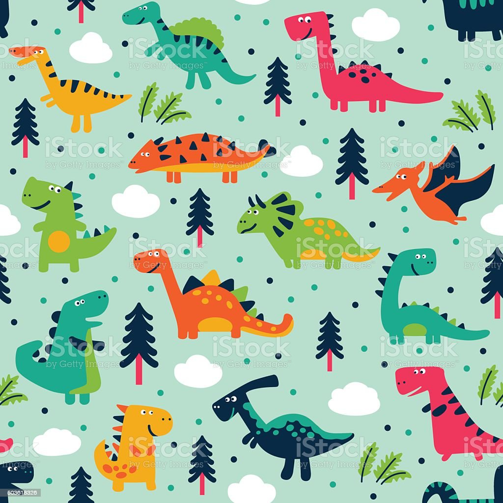 Adorable seamless pattern with trees, clouds and funny dinosaurs vector art illustration