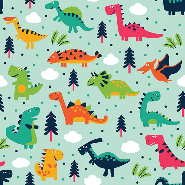 bildbanksillustrationer, clip art samt tecknat material och ikoner med adorable seamless pattern with trees, clouds and funny dinosaurs - förskolebyggnad