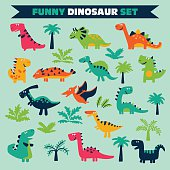 Adorable set with trees and funny dinosaurs in cartoon style