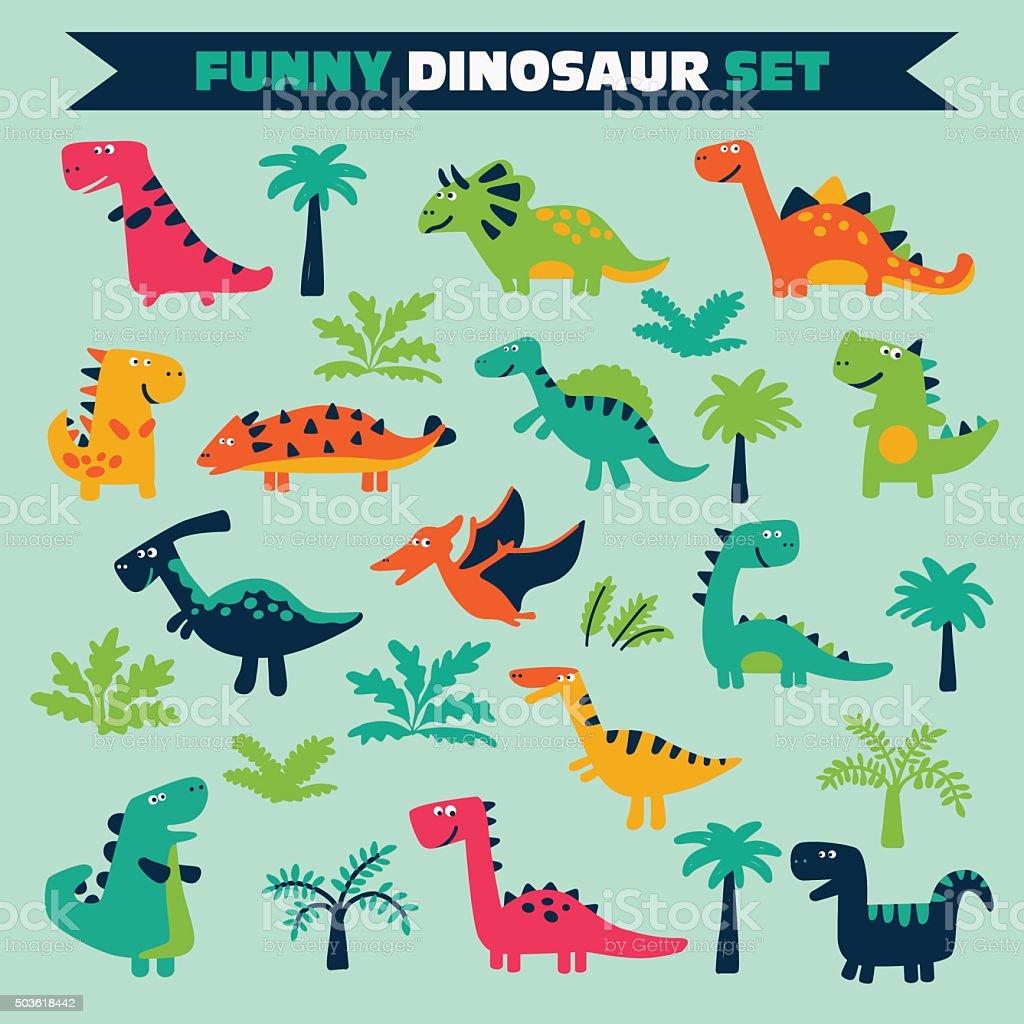 Conjunto com árvores e adoráveis dinossauros no estilo desenho engraçado - ilustração de arte em vetor