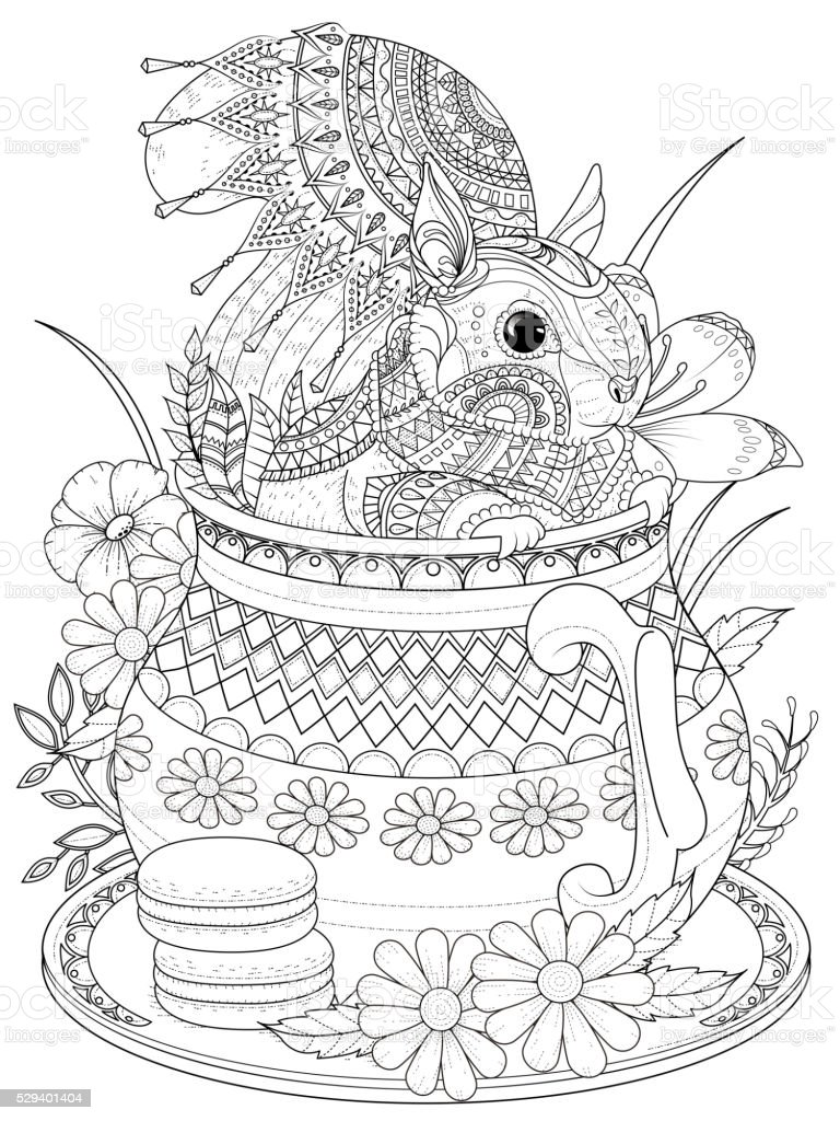 adorable squirrel adult coloring page vector art illustration