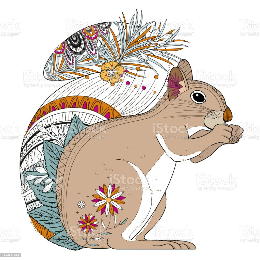 Adorable Squirrel Coloring Page Stock Vector Art & More Images of ...