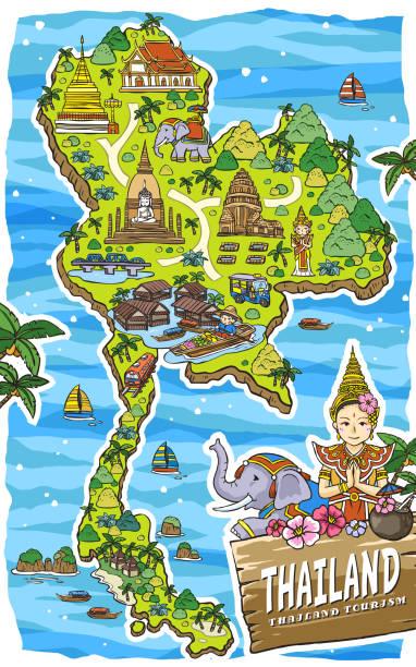 süße thailand reisen-karte - ayutthaya stock-grafiken, -clipart, -cartoons und -symbole