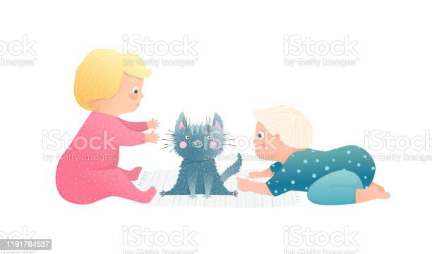 Adorable toddlers kids boy and girl playing with puppy kitten vector id1191764537?b=1&k=6&m=1191764537&s=612x612&h=svd8u7x lwtomew79idg ypvnpxsxwrx2wqg4s94ack=