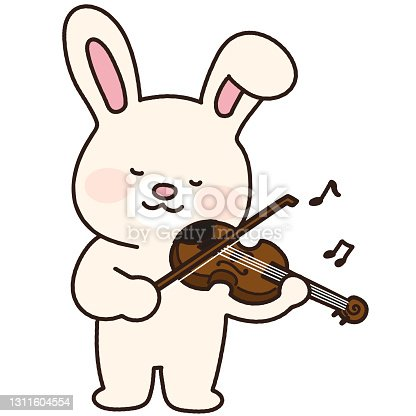 istock Adorable white bunny playing the violin outlined 1311604554