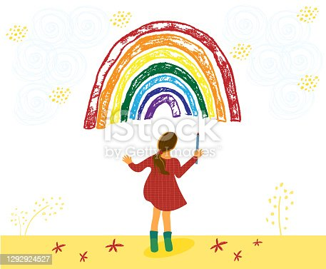 Adoralbe little toddler girl is drawing rainbow. Kid painting rainbow. Hand drawn vector cartoon illustration isolated on white background