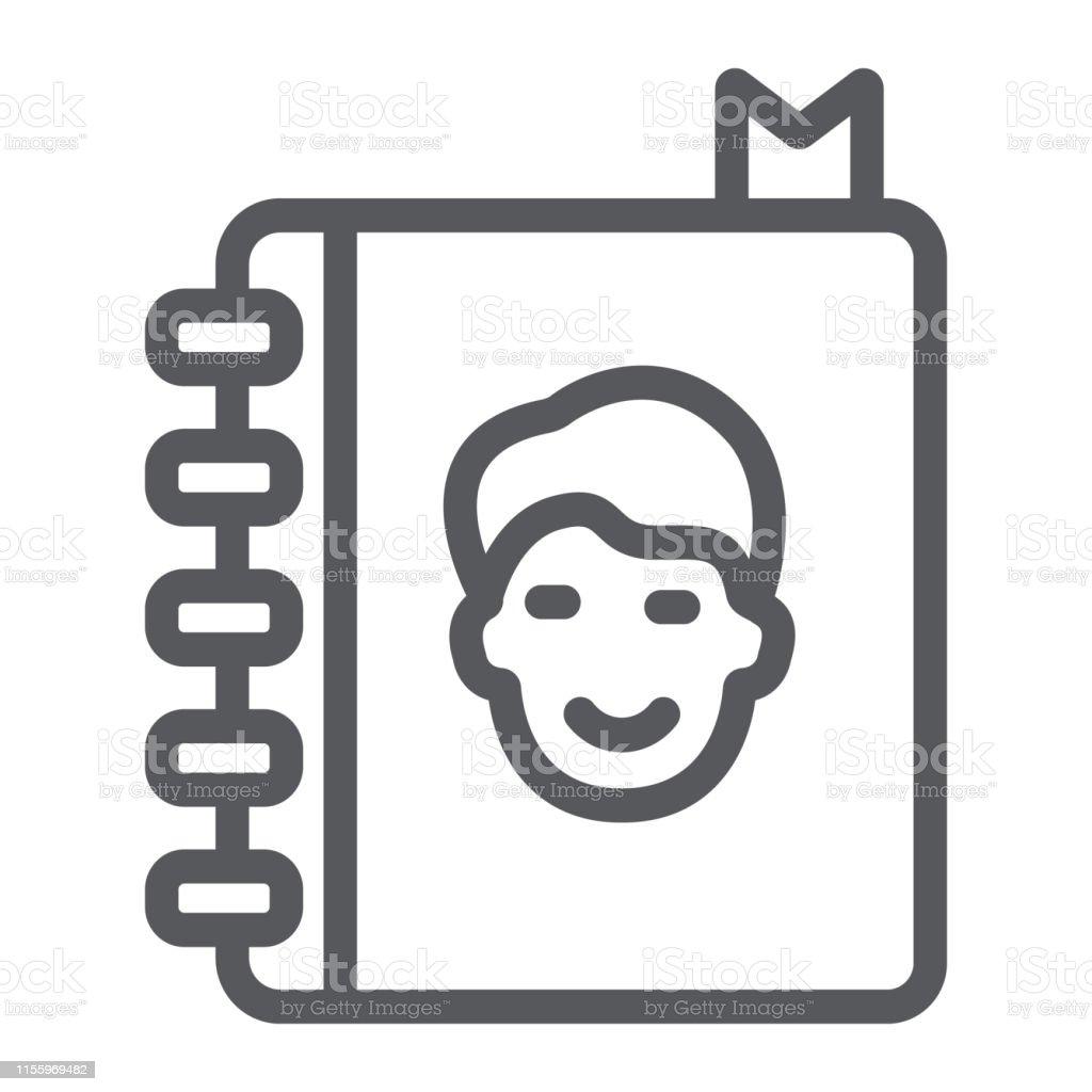 d25fef7636c Icono de línea de libro de dirección, contactos y cuaderno, signo de la guía