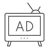 istock TV Ads thin line icon. Television media advertisement symbol, outline style pictogram on white background. Promotional marketing sign for mobile concept and web design. Vector graphics. 1224957977
