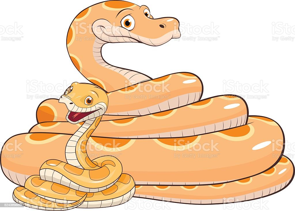 Adult and baby snake vector art illustration