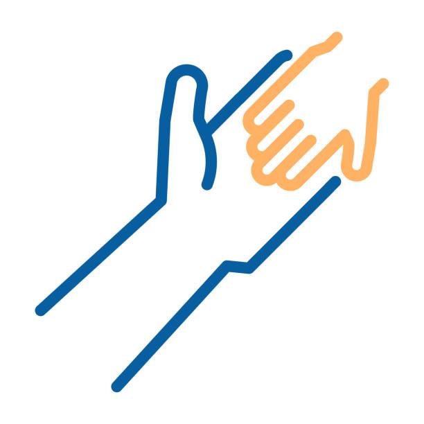 erwachsene und kinder halten hände symbol. dünne linie vektorgrafik. humanitäre hilfe, die annahme eines kindes, familienbande, kind-armut-bewusstsein, soziales, almosen, spende - adoption stock-grafiken, -clipart, -cartoons und -symbole