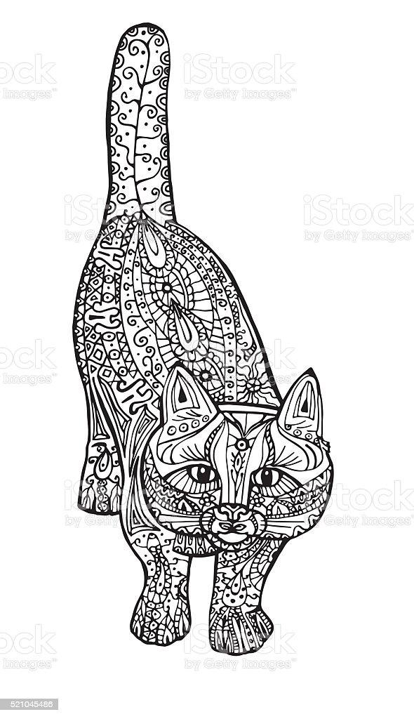 Coloriage Adulte Chat.Illustration De Coloriage Adulte Antistress Peint Un Chat Noir