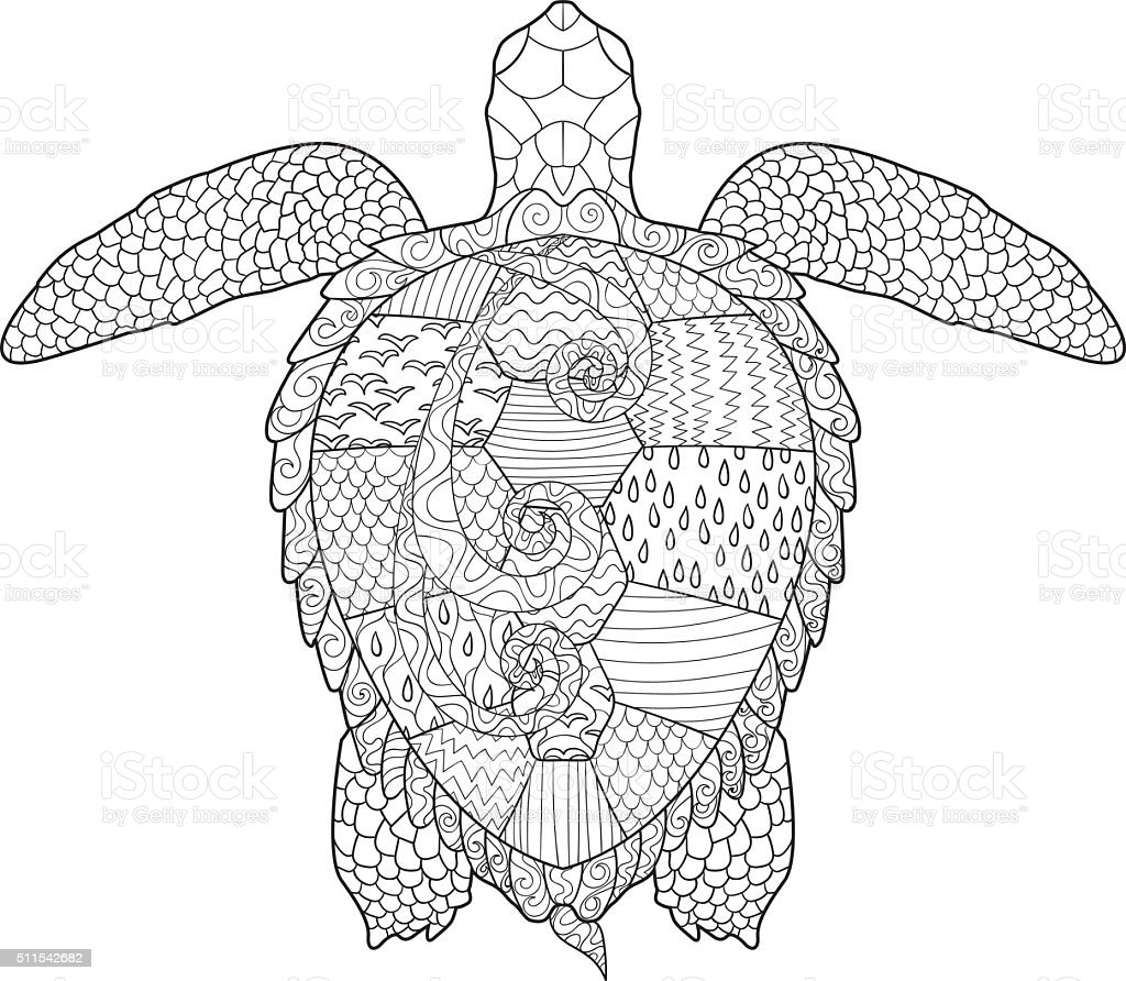 adult antistress coloring page with turtle royalty free adult antistress coloring page with turtle - Turtle Coloring Pages For Adults